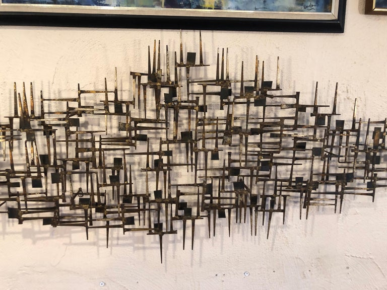 Welded Large Midcentury Brutalist Nail Wall Sculpture Attributed to Weinstein For Sale