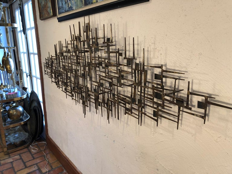Mid-20th Century Large Midcentury Brutalist Nail Wall Sculpture Attributed to Weinstein For Sale