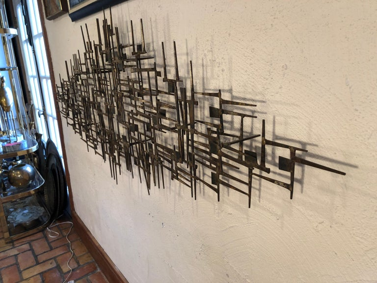 Iron Large Midcentury Brutalist Nail Wall Sculpture Attributed to Weinstein For Sale
