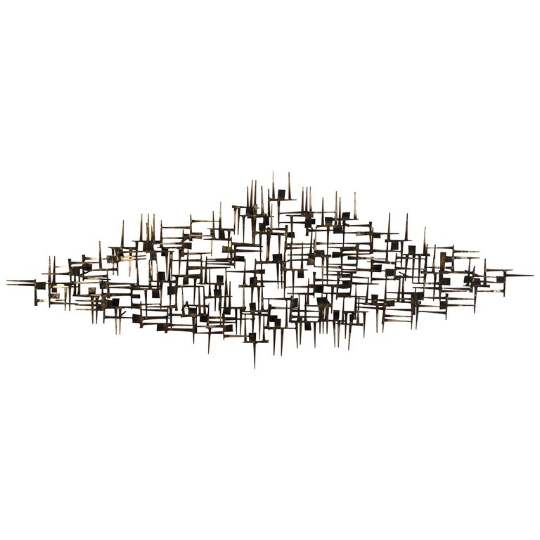 Large Midcentury Brutalist Nail Wall Sculpture Attributed to Weinstein For Sale