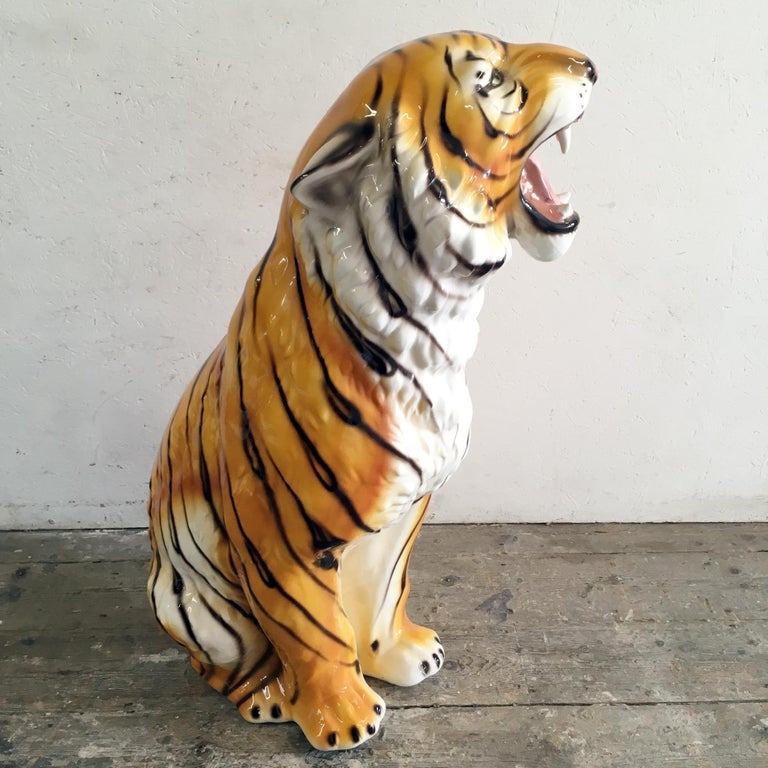 Large Mid Century Ceramic Tiger For Sale 4