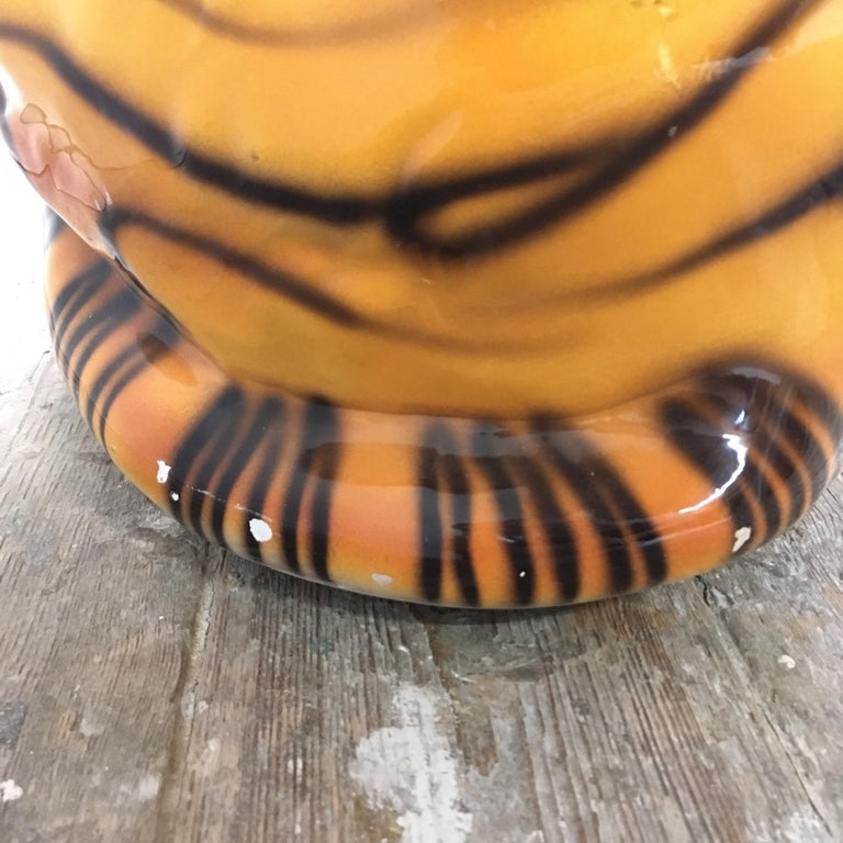 Large Mid Century Ceramic Tiger For Sale 9
