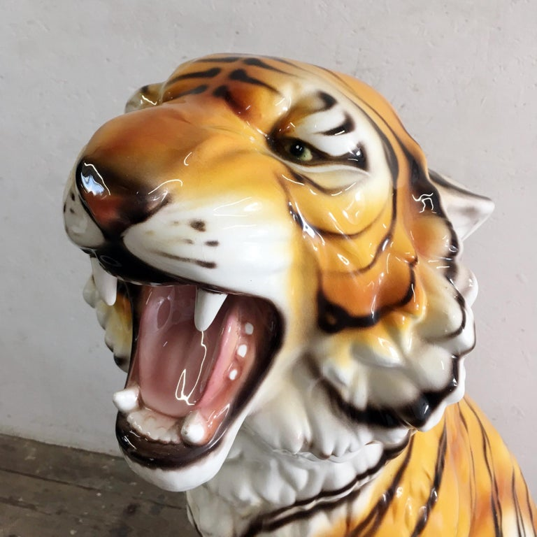 Very large ceramic hand painted tiger,