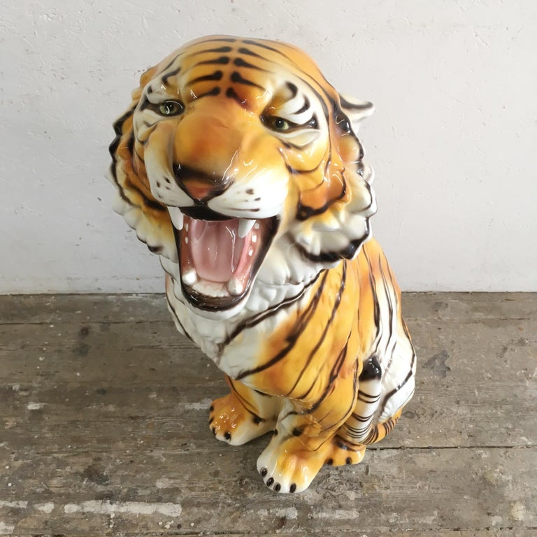 Mid-Century Modern Large Mid Century Ceramic Tiger For Sale