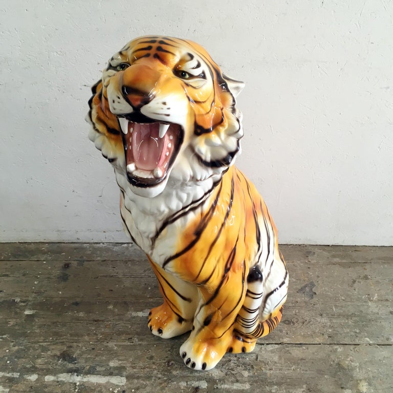Large Mid Century Ceramic Tiger For Sale 1