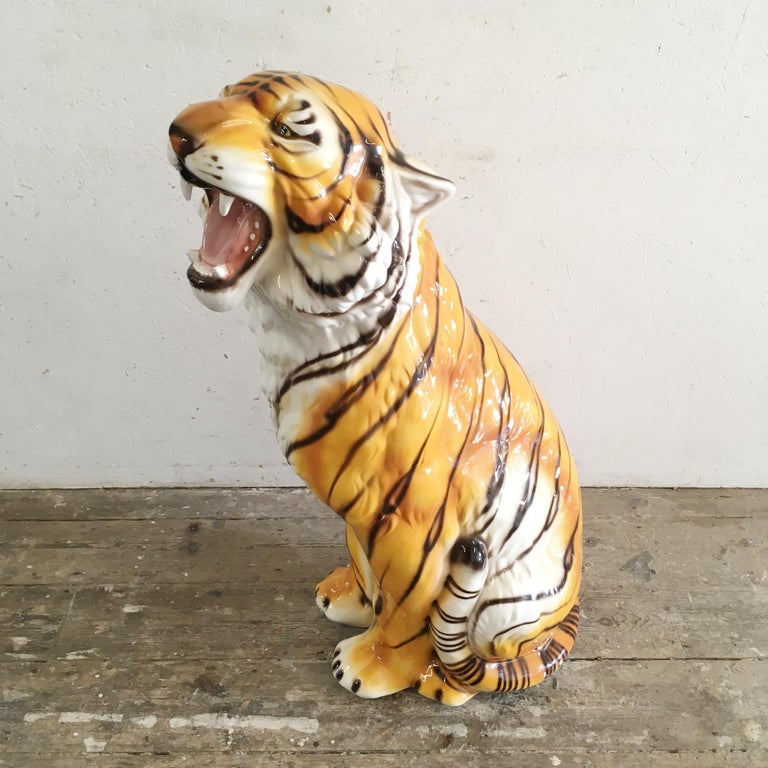 Large Mid Century Ceramic Tiger For Sale 2