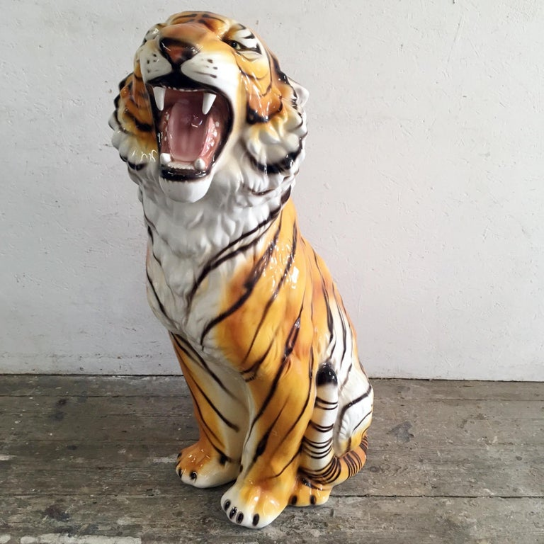 Large Mid Century Ceramic Tiger For Sale 3