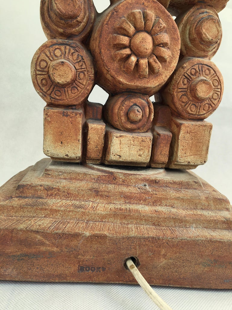 Late 20th Century Large Midcentury Ceramic 'Totem' Floor Lamp from Bernard Rooke, England