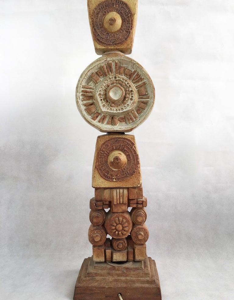 Large Midcentury Ceramic 'Totem' Floor Lamp from Bernard Rooke, England 1
