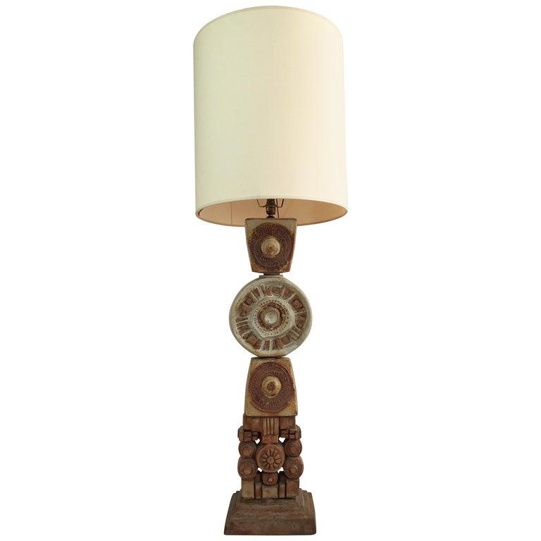 Large Midcentury Ceramic 'Totem' Floor Lamp from Bernard Rooke, England