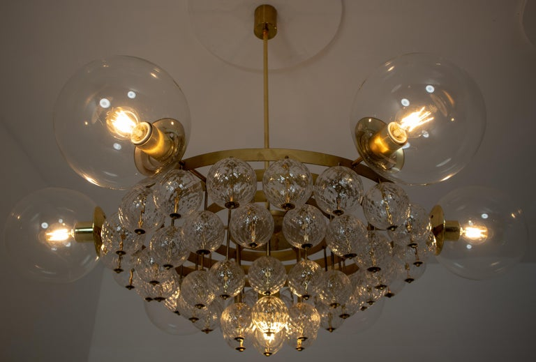 Large Mid-Century Chandelier with Brass Fixture and Structured Glass Globes For Sale 6