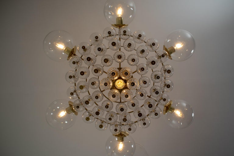 Large Mid-Century Chandelier with Brass Fixture and Structured Glass Globes For Sale 2