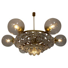 Large Mid-Century Chandelier with Brass Fixture and Structured Glass Globes