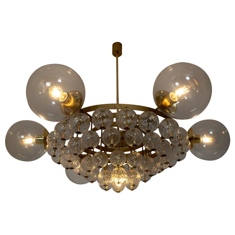 Large Mid-Century Chandelier with Brass Fixture and Structured Glass Globes For Sale
