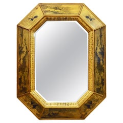 Large Mid Century Chinese Octagonal Gilt and Decoupage Wall Mirror with Script