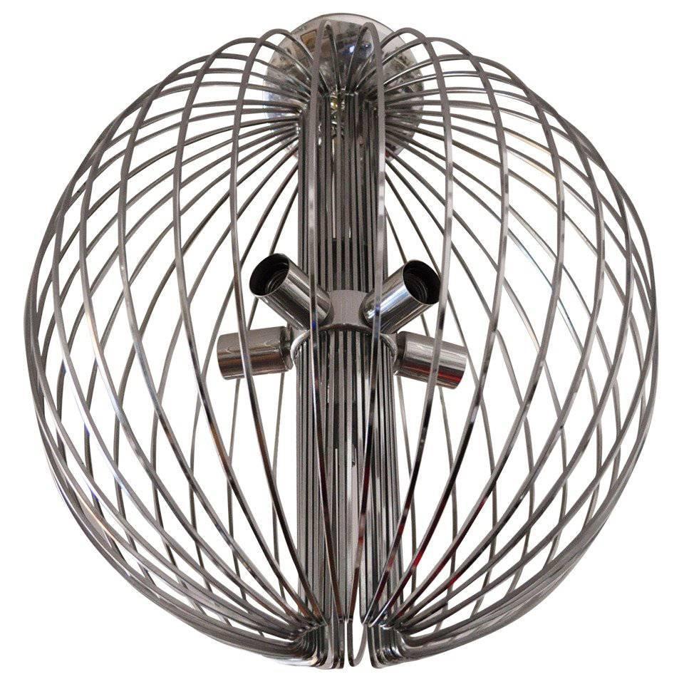 Large Midcentury Chromed Metal Spherical Cage Chandelier by Sciolari