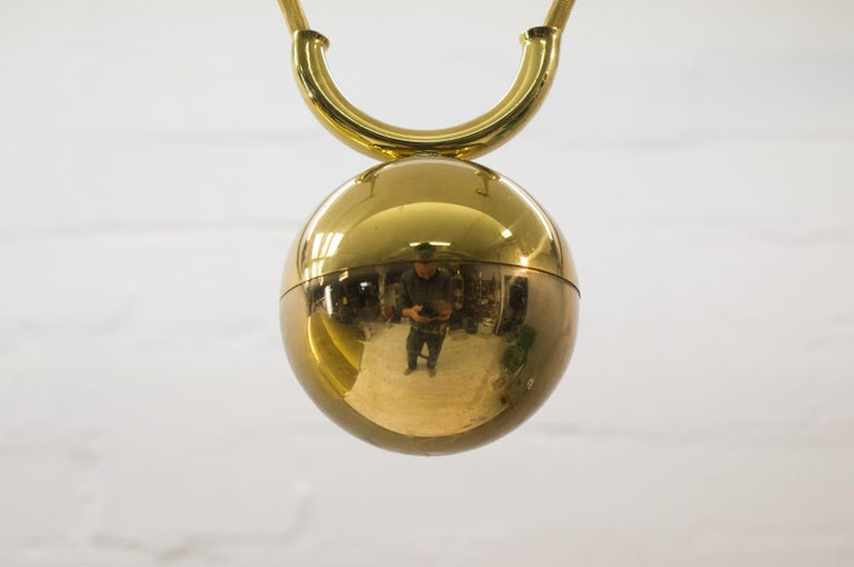 Large Midcentury Counterweight Brass Pendant Lamp, Germany, 1970s For Sale 2