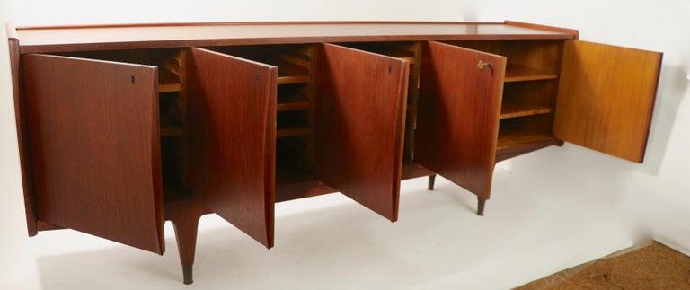 Large Mid Century  Danish Modern Teak Credenza For Sale 7