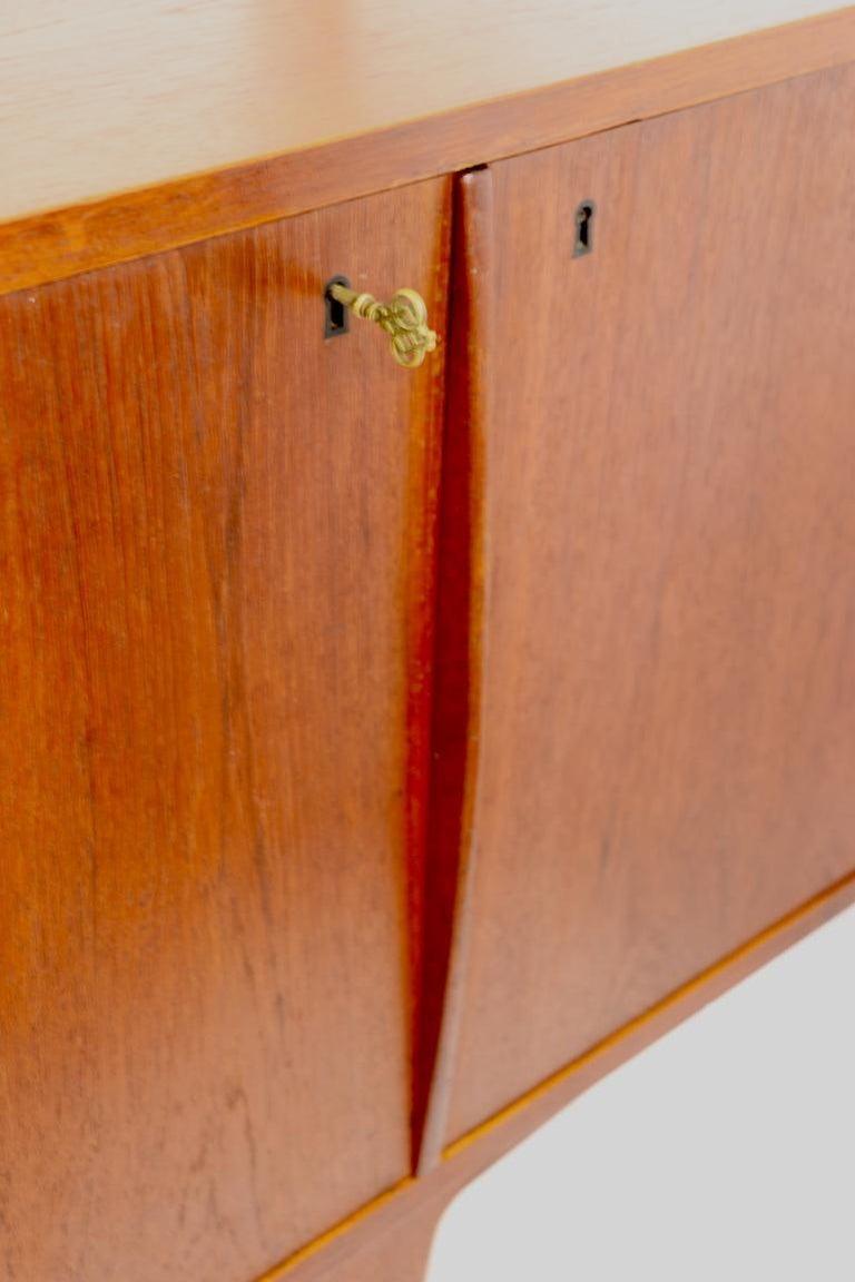Brass Large Mid Century  Danish Modern Teak Credenza For Sale