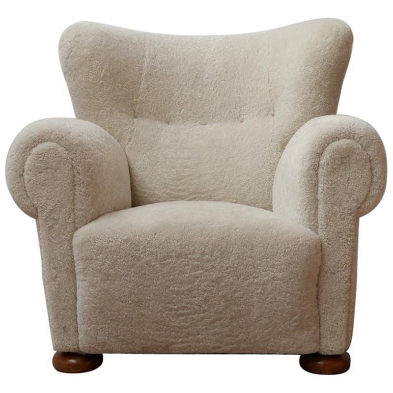 Large Mid-Century Danish Teddy Bear Easy Armchair in Sheepskin
