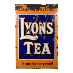 Large, Midcentury, Enamel Sign, English, Vintage, Lyons Tea, Advertising