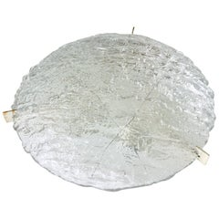 Large Midcentury Flush Mount in Heavily Textured Clear Glass by Kaiser Leuchten