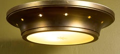Large Mid Century Flush Mount Light with Gold Band and Frosted Glass Base