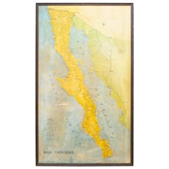 "Large Mid-Century Framed ""Baja California"" Map, c.1967"