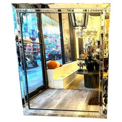Large Mid Century French Beveled Mirror