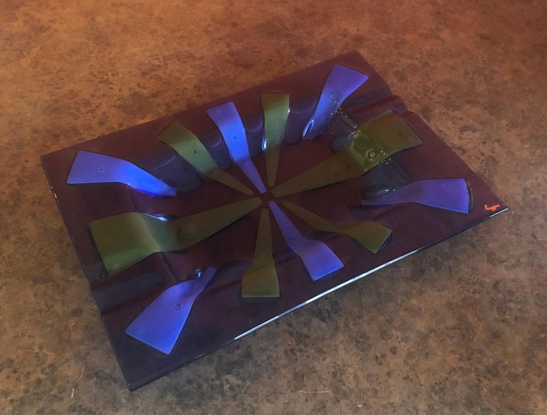 American Large Midcentury Fused Art Glass Ashtray by Higgins For Sale
