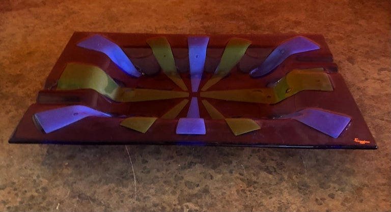 Hand-Crafted Large Midcentury Fused Art Glass Ashtray by Higgins For Sale