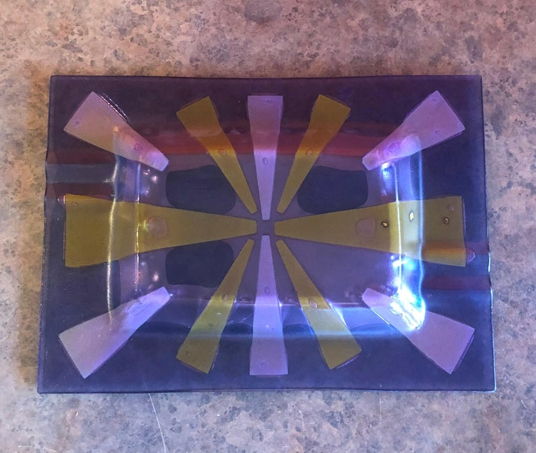 20th Century Large Midcentury Fused Art Glass Ashtray by Higgins For Sale