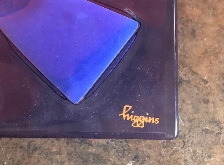 Large Midcentury Fused Art Glass Ashtray by Higgins For Sale 1