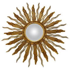 Large Midcentury Golden Sunburst Mirror, 1960s