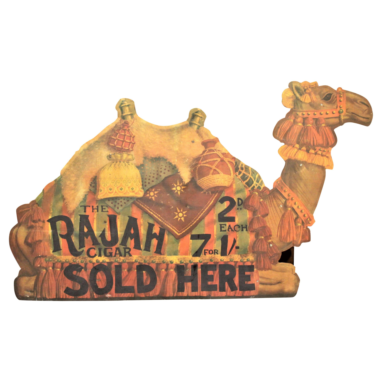 Large Mid-Century Gran Habano Rajah Cigar Advertising Tobacco Store Display Sign