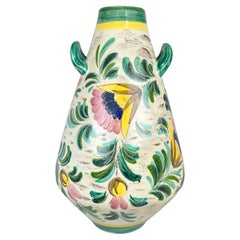 Large Mid Century Hand painted Ceramic Floor Vase, 1970's