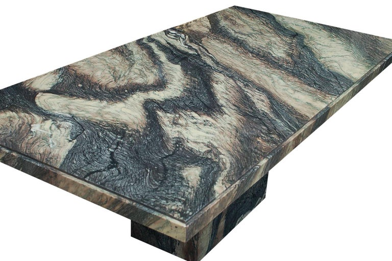 Post-Modern Large Midcentury Italian Postmodern Marble Granite Rectangular Dining Table For Sale