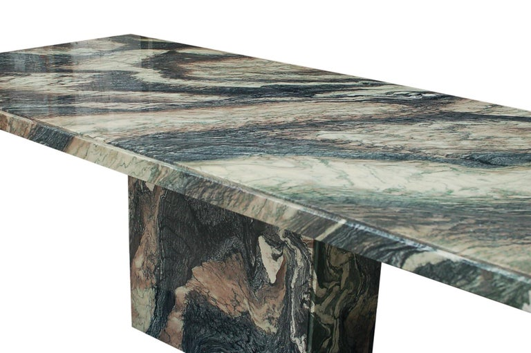Large Midcentury Italian Postmodern Marble Granite Rectangular Dining Table In Good Condition For Sale In Philadelphia, PA