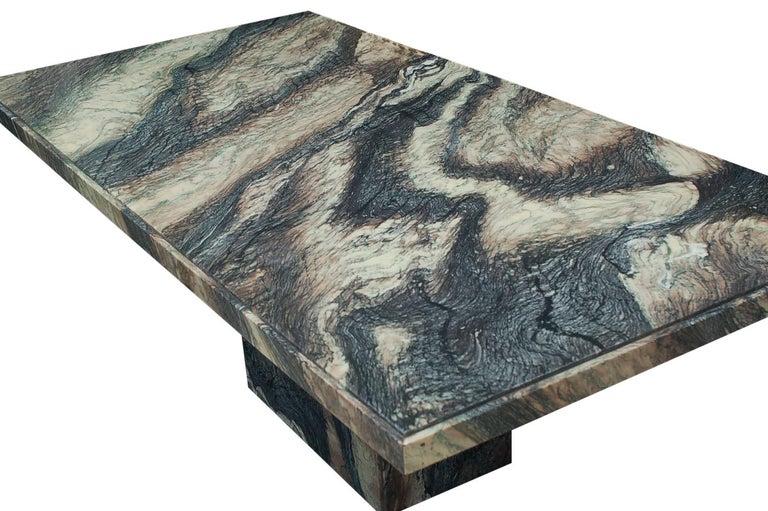 Large Midcentury Italian Postmodern Marble Granite Rectangular Dining Table For Sale 1