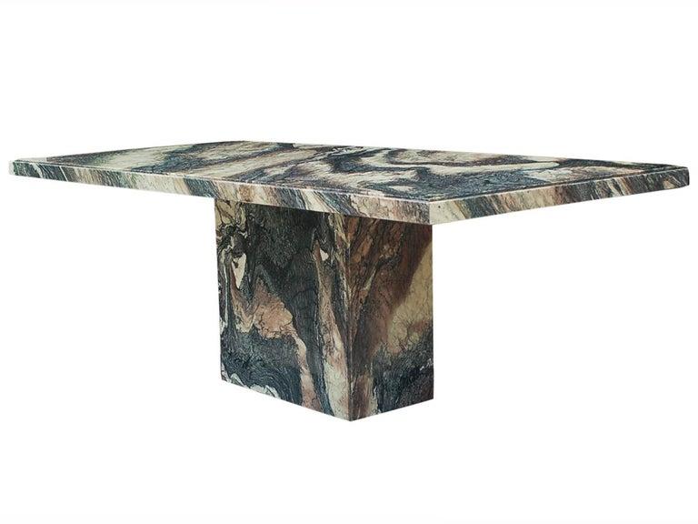Large Midcentury Italian Postmodern Marble Granite Rectangular Dining Table For Sale 2