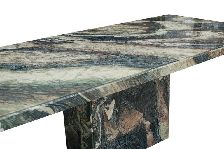 Large Midcentury Italian Postmodern Marble Granite Rectangular Dining Table For Sale 3