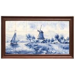 Large Midcentury Made Delft Blue Tile Tableau / Wall Plaque with Dutch Landscape