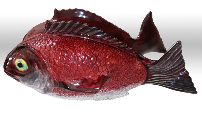 Mid-Century Modern Large Midcentury Majolica Red Fish Pottery Ceramic Tureen Box, Portugal, 1950s For Sale