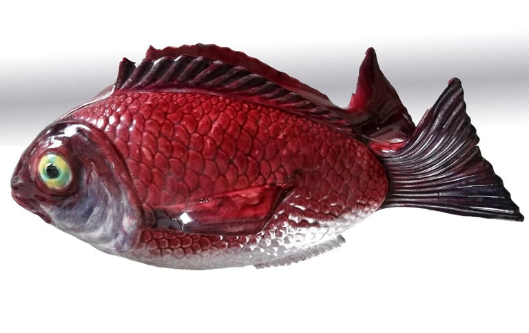 Portuguese Large Midcentury Majolica Red Fish Pottery Ceramic Tureen Box, Portugal, 1950s For Sale