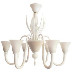 Large Mid-Century Modern 6 Lights Milk Murano Glass Chandelier by Venini