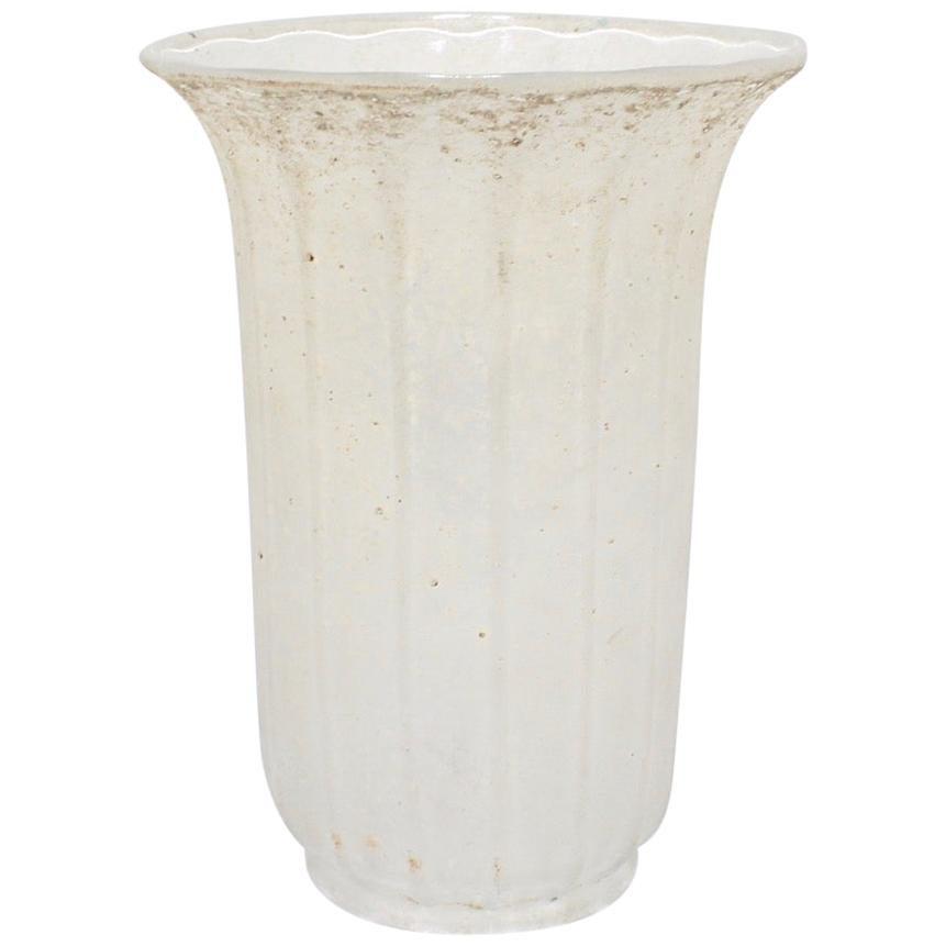 Large Mid-Century Modern Archimede Seguso White Scavo Italian Art Glass Vase