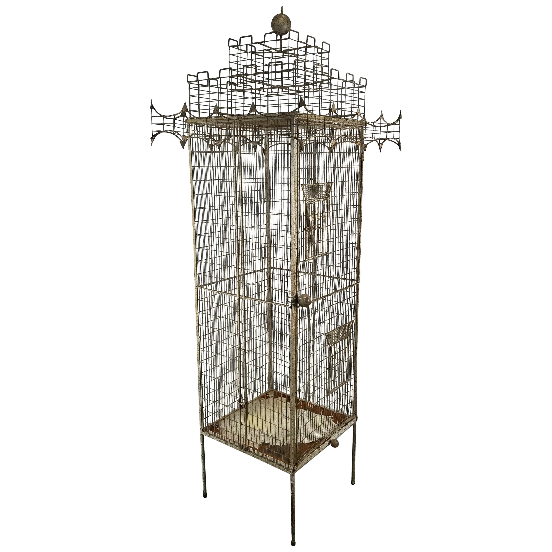Large Mid-Century Modern Architectural Bird Cage Sculpture by Frederick Weinberg