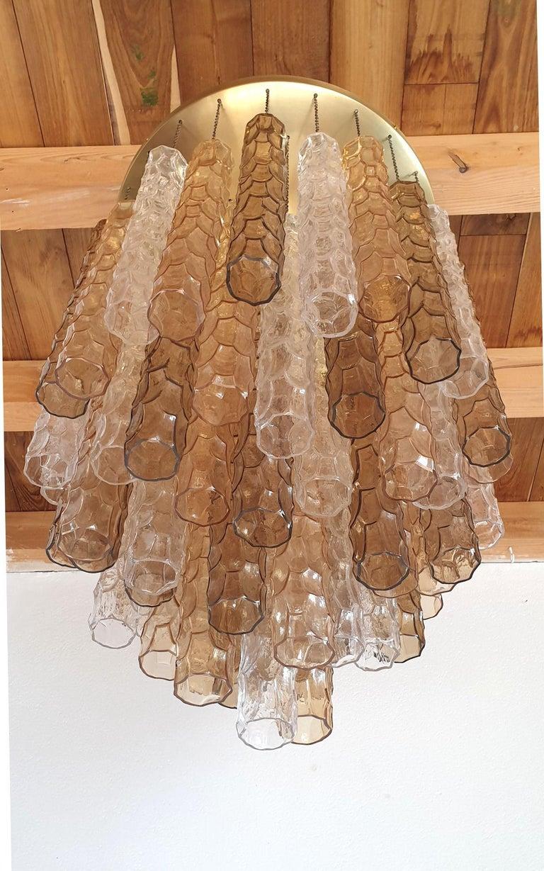 Italian Large Mid-Century Modern Bamboo Murano Glass/Brass Flush Mount by Mazzega For Sale
