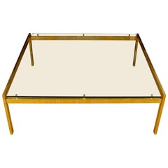 Large Mid-Century Modern Brass and Glass Square Table