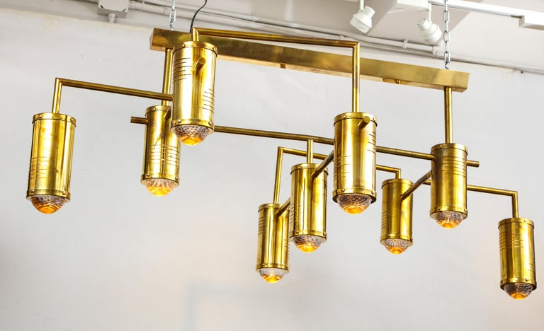Large Mid-Century Modern Brass Chandelier, circa 1970, Italy For Sale 5